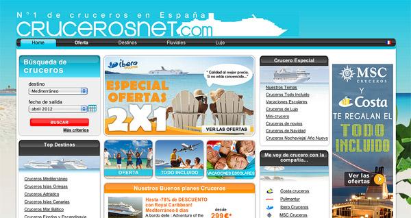 Vista general del buscador de ofertas en cruceros crucerosnet.com