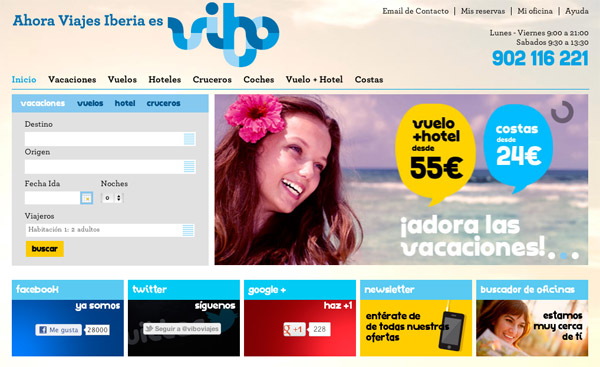 Diseño más actual de la web de Vibo